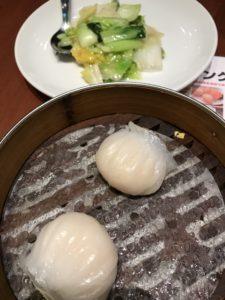 福盈門 海老の蒸し餃子季節の野菜炒め