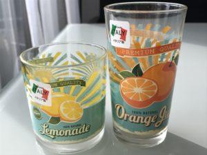 ダイソー イタリア グラス Lemonade Orange Guice レモネード オレンジジュース