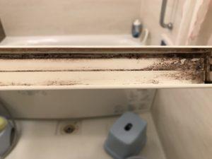 炭酸塩漬け 風呂ドア下部ビフォー