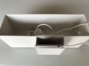 無印のポリプロピレンファイルボックス1/2とポケットで充電ステーション