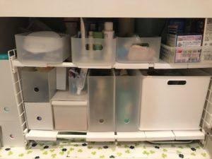 アイリスオーヤマ シンク下 伸縮棚 2段洗面台下収納例