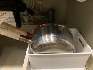 ダイソーブックエンドで鍋を立てる