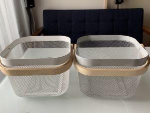 IKEA RISATORPリーサトルプ バスケット, グレーとホワイト