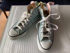 キャンドゥ 伸びる靴ひも平型黒120cmBefore